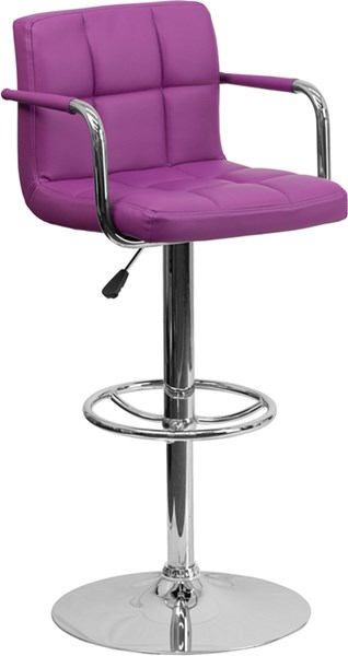 Contemporary Purple Quilted Vinyl Chrome Base Adjust Height Barstool FLF-CH-102029-PUR-GG