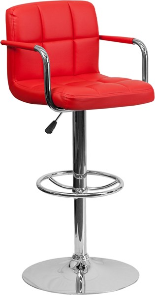 Contemporary Red Quilted Vinyl Chrome Base Adjust Height Barstool FLF-CH-102029-RED-GG