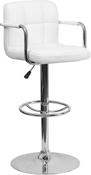 Contemporary White Quilted Vinyl Chrome Base Adjust Height Barstool FLF-CH-102029-WH-GG