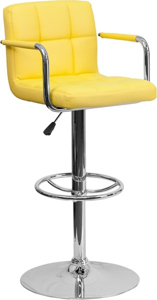Contemporary Yellow Quilted Vinyl Chrome Base Adjust Height Barstool FLF-CH-102029-YEL-GG