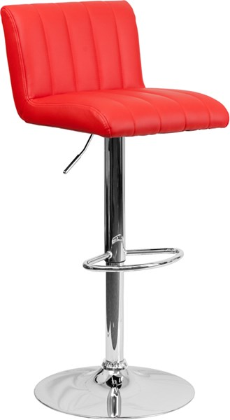 Red Foam Metal Vinyl Adjustable Height Barstool W/Chrome Base FLF-CH-112010-RED-GG