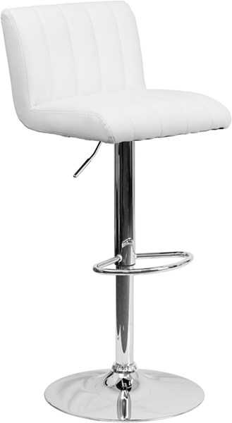 White Metal Vinyl Adjustable Height Barstool W/Chrome Base FLF-CH-112010-WH-GG