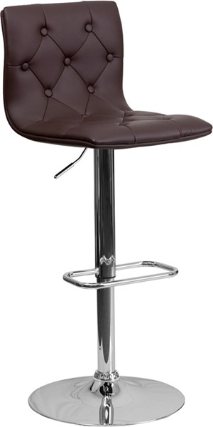 Contemporary Tufted Brown Vinyl Adjust Height Barstool w/Chrome Base FLF-CH-112080-BRN-GG
