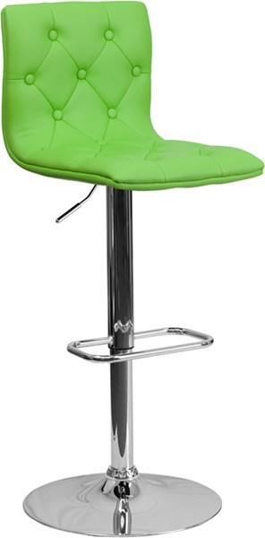 Contemporary Tufted Green Vinyl Adjust Height Barstool w/Chrome Base FLF-CH-112080-GRN-GG