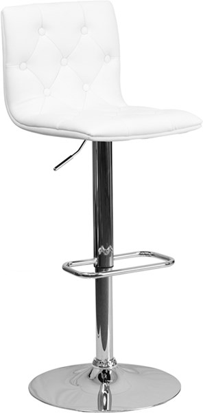 Contemporary Tufted White Vinyl Adjust Height Barstool w/Chrome Base FLF-CH-112080-WH-GG