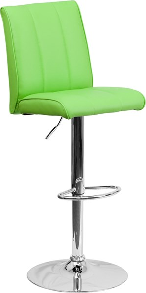 Contemporary Green Chrome Foam Metal Vinyl Adjustable Height Barstool FLF-CH-122090-GRN-GG