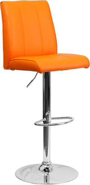 Orange Foam Metal Vinyl Adjustable Height Barstool W/Chrome Base FLF-CH-122090-ORG-GG