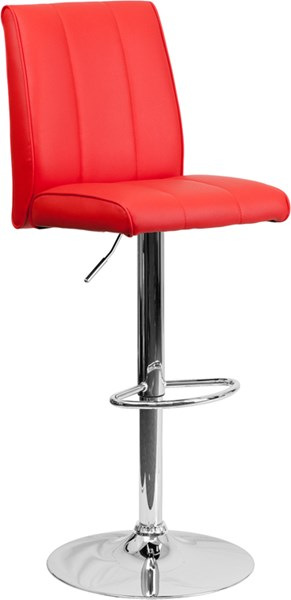 Contemporary Red Foam Metal Vinyl Adjustable Height Barstool FLF-CH-122090-RED-GG