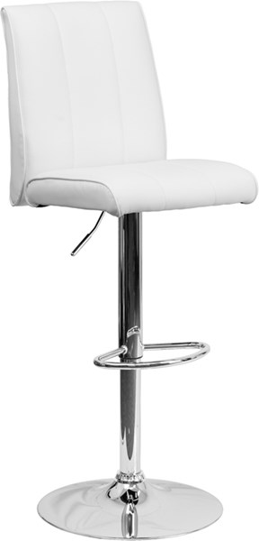 Contemporary White Foam Metal Vinyl Adjustable Height Barstool FLF-CH-122090-WH-GG