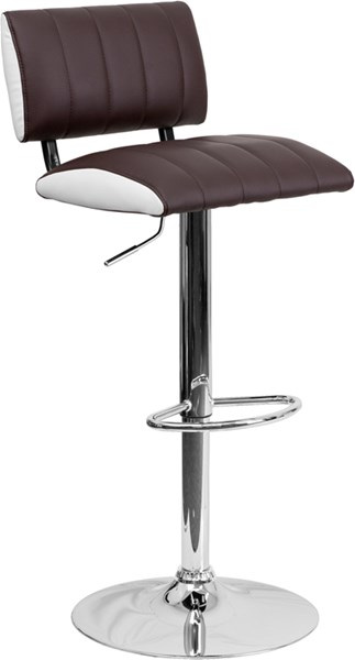 Contemporary Two Tone Brown & White Vinyl Adjustable Height Barstool FLF-CH-122150-BRN-GG