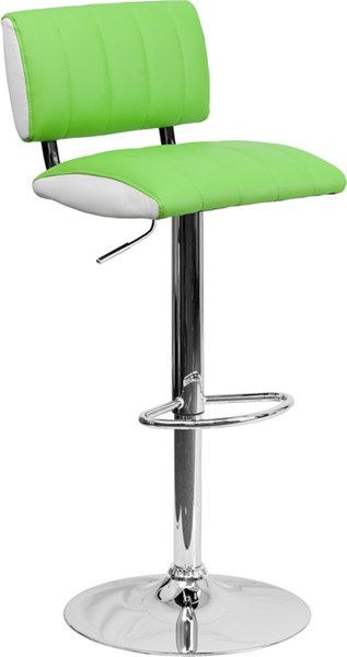 Contemporary Two Tone Green & White Vinyl Adjustable Height Barstool FLF-CH-122150-GRN-GG