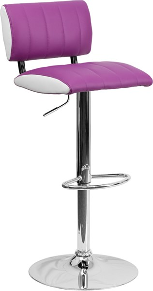 Contemporary Two Tone Purple & White Vinyl Adjustable Height Barstool FLF-CH-122150-PUR-GG