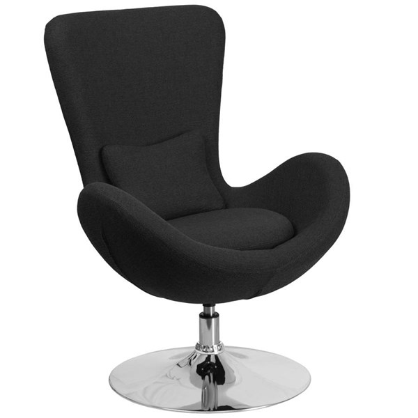 Flash Furniture Egg Black Fabric Side Reception Chair FLF-CH-162430-BK-FAB-GG