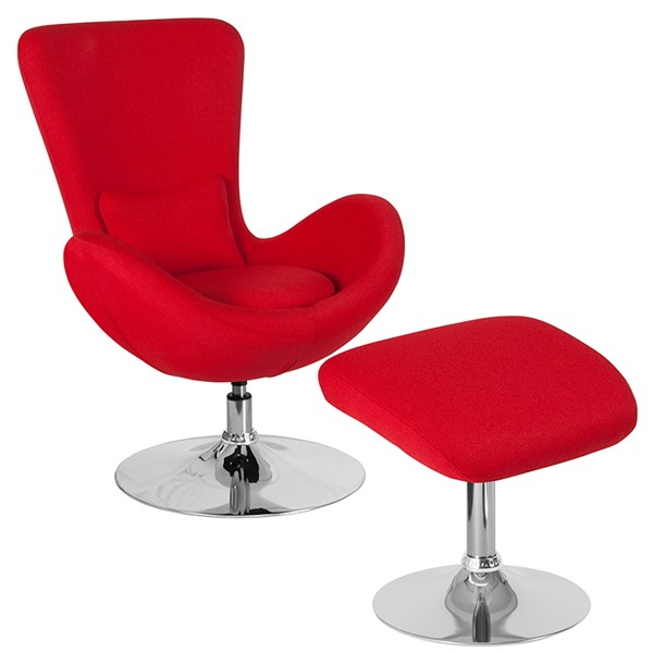 Flash Furniture Egg Red Fabric Reception Chair FLF-CH-162430-CO-RED-FAB-GG