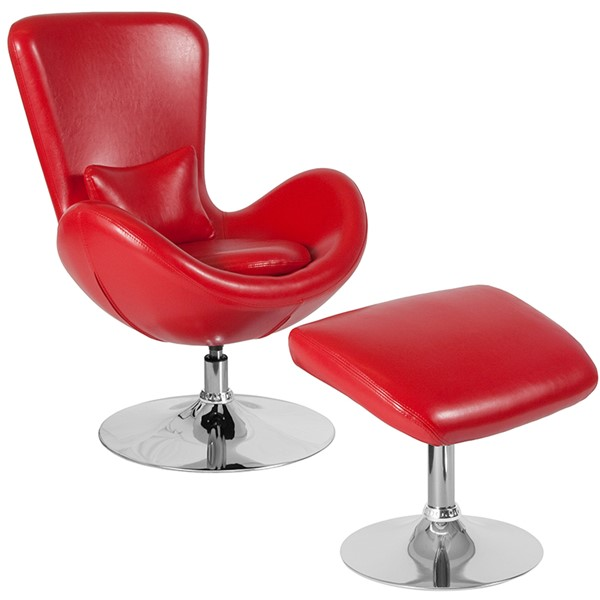 Flash Furniture Egg Red Leather Reception Chair FLF-CH-162430-CO-RED-LEA-GG