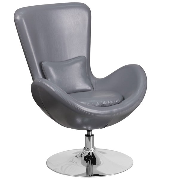 Flash Furniture Egg Gray Leather Side Reception Chair FLF-CH-162430-GY-LEA-GG