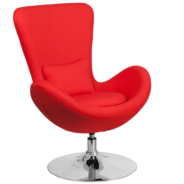 Flash Furniture Egg Red Fabric Side Reception Chair FLF-CH-162430-RED-FAB-GG