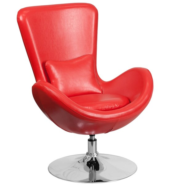 Flash Furniture Egg Red Leather Side Reception Chair FLF-CH-162430-RED-LEA-GG