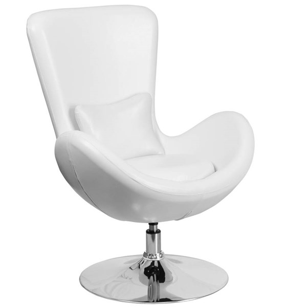 Flash Furniture Egg White Leather Side Reception Chair FLF-CH-162430-WH-LEA-GG