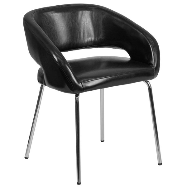 Flash Furniture Fusion Black Leather Side Reception Chair FLF-CH-162731-BK-GG