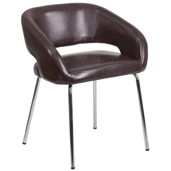 Flash Furniture Fusion Brown Leather Side Reception Chair FLF-CH-162731-BN-GG