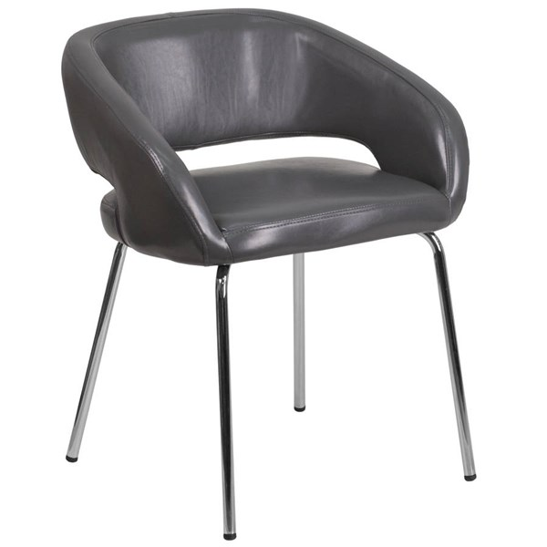 Flash Furniture Fusion Gray Leather Side Reception Chair FLF-CH-162731-GY-GG