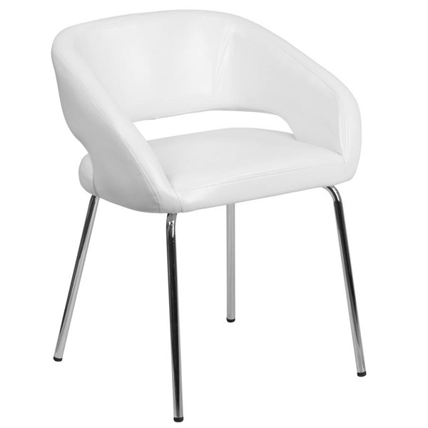 Flash Furniture Fusion White Leather Side Reception Chair FLF-CH-162731-WH-GG
