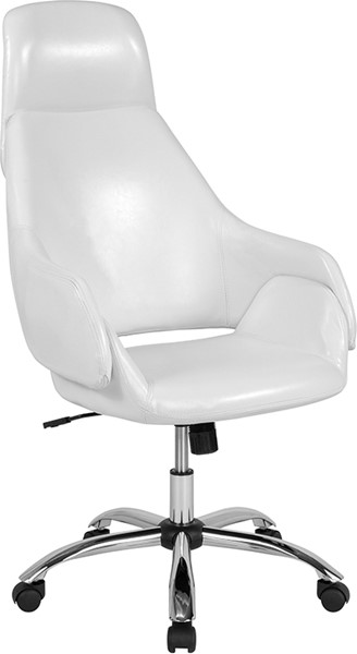 Flash Furniture Marbella White Leather High Back Chair FLF-CH-177275-WH-GG