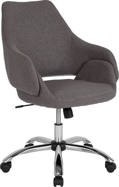 Flash Furniture Madrid Dark Gray Fabric Mid Back Chair FLF-CH-177280-DGY-F-GG