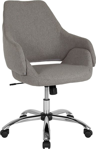 Flash Furniture Madrid Light Gray Fabric Mid Back Chair FLF-CH-177280-LGY-F-GG