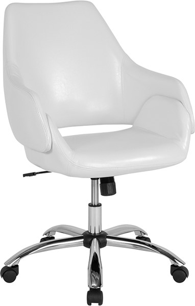 Flash Furniture Madrid White Leather Mid Back Chair FLF-CH-177280-WH-GG