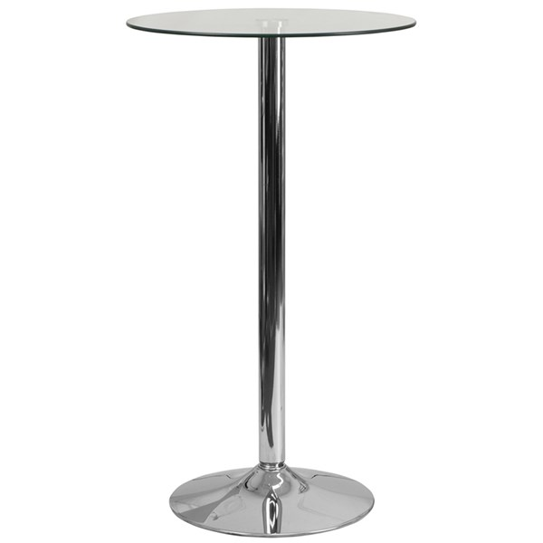 23.75 Inch Round Glass Table With 41.75 Inch H Chrome Base FLF-CH-3-GG
