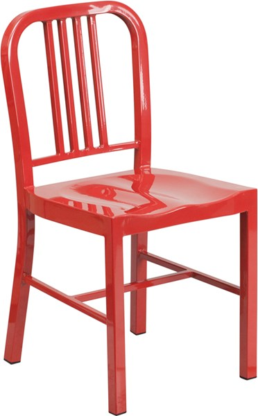 Red Metal Indoor-Outdoor Vertical Slat Back Chair FLF-CH-31200-18-RED-GG