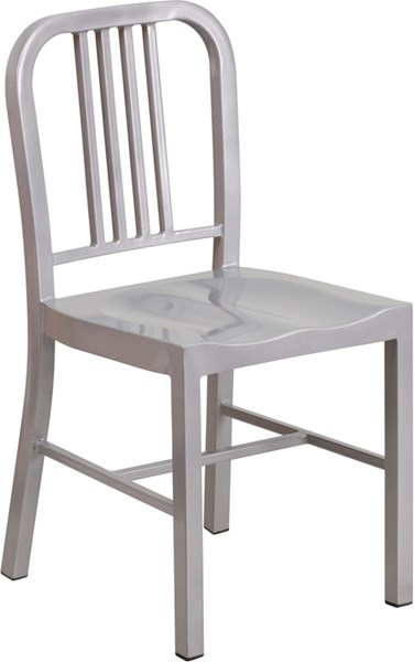 Silver Metal Indoor-Outdoor Vertical Slat Back Chair FLF-CH-31200-18-SIL-GG
