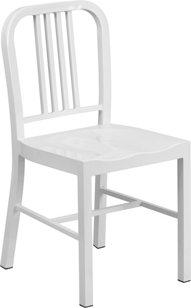 White Metal Indoor-Outdoor Vertical Slat Back Chair FLF-CH-31200-18-WH-GG