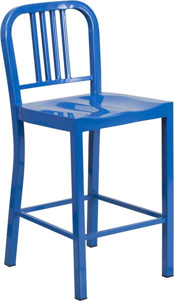 24 Inch High Blue Metal Plastic Indoor-Outdoor Counter Height Stool FLF-CH-31200-24-BL-GG