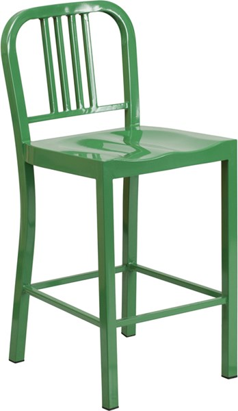 24 Inch High Green Metal Indoor-Outdoor Counter Height Stool FLF-CH-31200-24-GN-GG