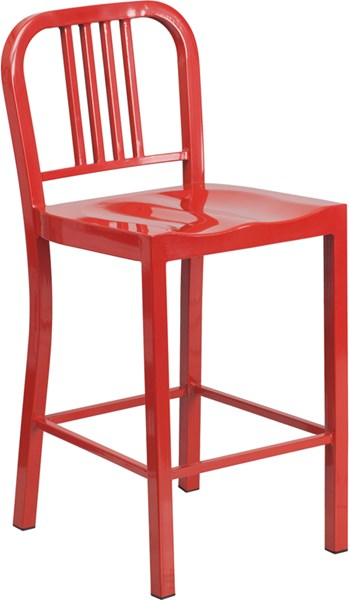 24 Inch High Red Metal Indoor-Outdoor Counter Height Stool FLF-CH-31200-24-RED-GG