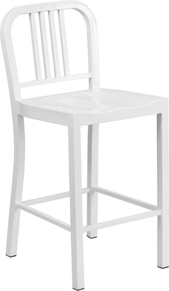 White Powder Coat Metal Plastic Indoor Outdoor Counter Height Stool FLF-CH-31200-24-WH-GG