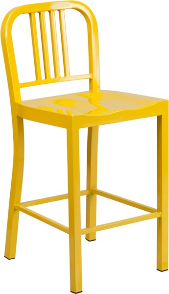 24 Inch High Yellow Metal Indoor-Outdoor Counter Height Stool FLF-CH-31200-24-YL-GG