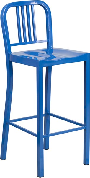 30 Inch High Blue Metal Indoor-Outdoor Barstool FLF-CH-31200-30-BL-GG