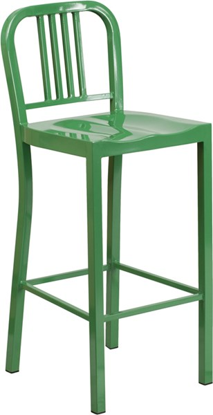 Green Metal Plastic Indoor Outdoor Bar Stool FLF-CH-31200-30-GN-GG