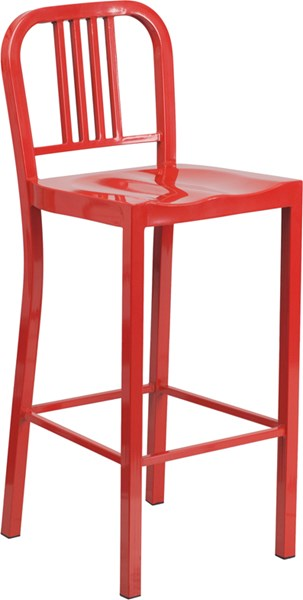 30 Inch High Red Metal Indoor-Outdoor Barstool FLF-CH-31200-30-RED-GG