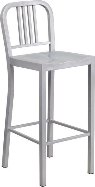 30 Inch High Silver Metal Indoor-Outdoor Barstool FLF-CH-31200-30-SIL-GG