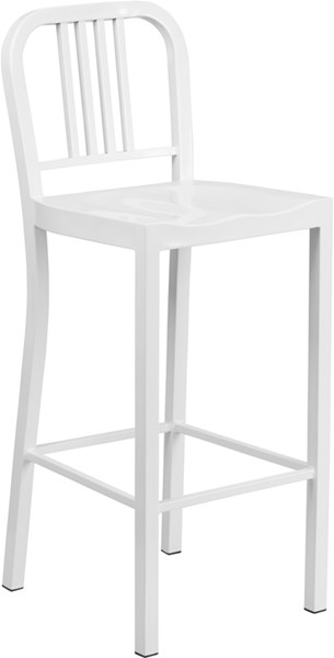White Powder Coat Metal Plastic Indoor Outdoor Bar Stool FLF-CH-31200-30-WH-GG