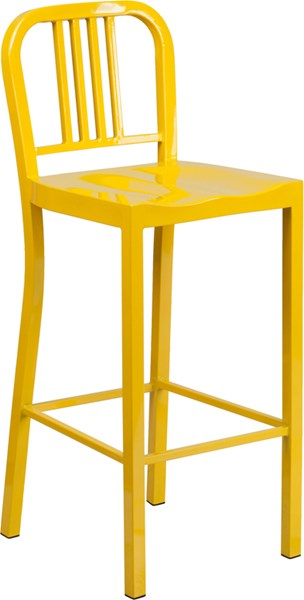 Yellow Metal Plastic Indoor Outdoor Bar Stool FLF-CH-31200-30-YL-GG