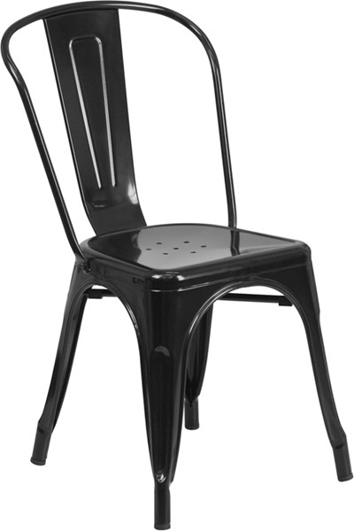 Black Metal Indoor-Outdoor Stackable Chair FLF-CH-31230-BK-GG
