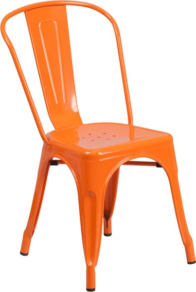 Orange Metal Indoor-Outdoor Stackable Chair FLF-CH-31230-OR-GG