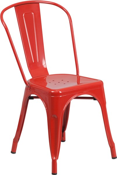 Red Metal Indoor-Outdoor Stackable Chair FLF-CH-31230-RED-GG