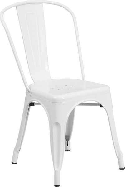 White Metal Indoor-Outdoor Stackable Chair FLF-CH-31230-WH-GG